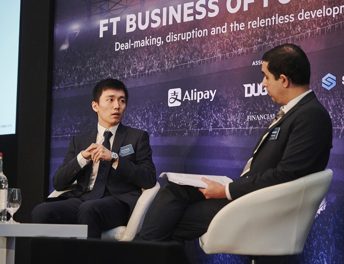 Steven Zhang speaks at the FT Business of Football Summit