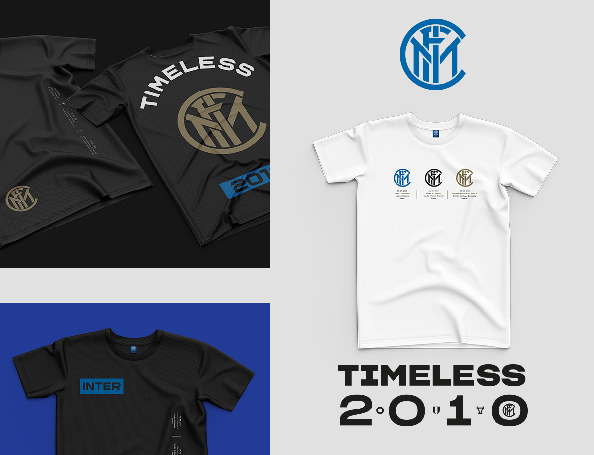 Inter T-hirt Triplete-Timeless 2010 Stampa Orizzontale