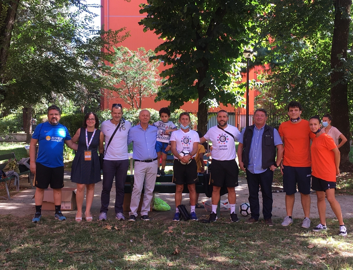 Inter and Inter Campus run activities in the courtyards outside social housing